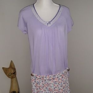 Womens small purple and flower pajamas
